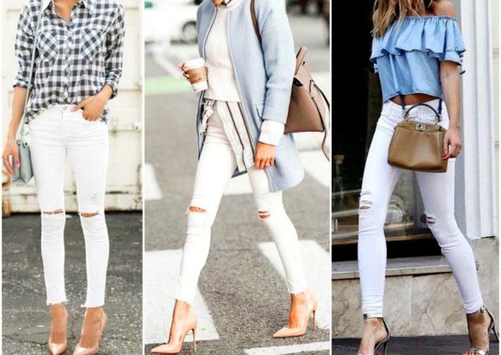 794607202 O jeans branco é uma ótima opção para sairmos do tradicional jeans azul e  preto. As peças quando bem combinadas tornam o look elegante